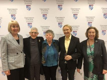 L-R: Head of College, Dr Jennifer McDonald, Dr Rosemary Kiss (UWC 1964), Alison MacPhail (UWC 1964), Dr Lynne Broughton (UWC 1964) and Kay Beaumont (UWC 1968).